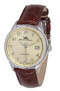 Yonger & Bresson - YBH 8357-08 - Chinon - Montre Homme - Automatique Analogique - Cadran Doré - Bracelet Cuir Marron