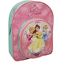 Disney Princess (heart Of A) Backpack, Round Front Pocket, Picture Of 3 Princess's, Pink/blue