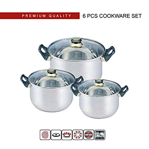 6 Pc Stainless Steel Stock Pot Cookware Pot & Pan with Glass Lid