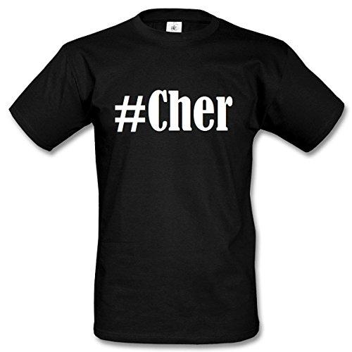 T-Shirt #Cher Hashtag Raute für Damen Herren und Kinder ... in der Farbe Schwarz Schwarz