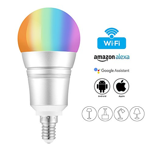 Smart Lampe, wlan Lampe E14, 8W, 810LM Smart Home Lampe, dimmbare Wlan Glühbirne, steuerbar via APP; Wifi Birne kompatibel mit Google Home, Amazon Alexa(Echo, Echo Dot) für Sprachsteruerung