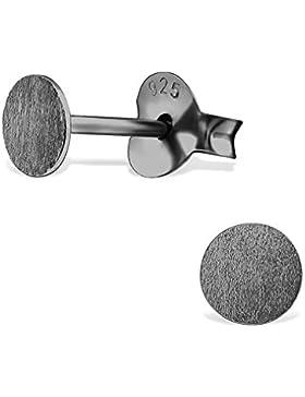 Ohrstecker 925 Silber Ohrringe matt gebürstet 4mm rund Schwarz Grau für Damen und Herren (2 Stück / 1 Paar)
