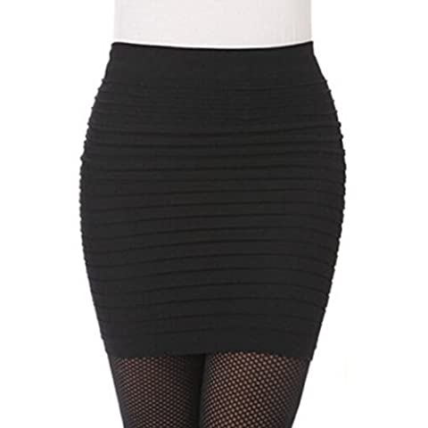 Bluester Fashion Womens Elastic Pleated High Waist Package Hip Short Skirt (Black)