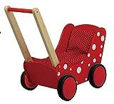 Unbekannt Toller roter Puppenwagen mit weißen Punkten inkl. Decke (rot m. kleinenweißen Punkten) / Material: Holz / 60 x 32 x 55 cm / ab 3 Jahre