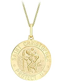 Carissima Gold Women's 9 ct Yellow Gold St Christopher Pendant on Curb Chain Necklace