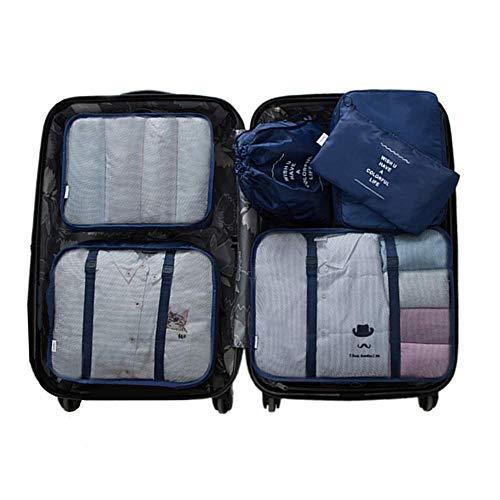 6 Set Kleidertaschen -4 Packwürfel + 1 Beutel + 1 Bündeltasche(Navy) (Dessous-tasche)