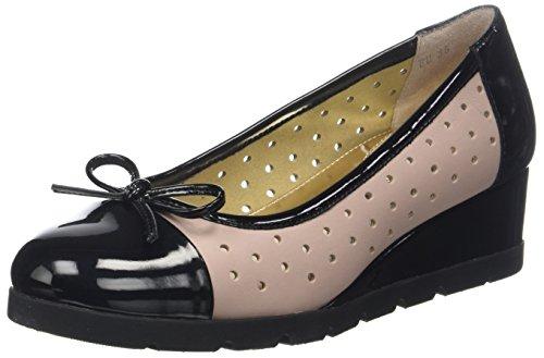 Stonefly Milly 4 Patent/Nappa, Scarpe col Tacco con Plateau Donna, Multicolore (Black/Cuban Sand I88), 36 EU