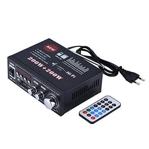Richer-R Mini HiFi Verstärker, Auto HiFi Stereo Audio Car Amplifier Bass Endstufe Verstärker,MP3/MP4/CD/Radio/DVD Mini HiFi Musik Verstärker mit Fernbedienung für Auto KFZ PKW Motorrad usw.