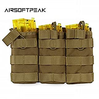 Tan : AIRSOFTPEAK Tactical Molle Triple Magazine Pouch Open Top Vest Accessory Bag Combat Gear Mag Holster Paintball Equipment