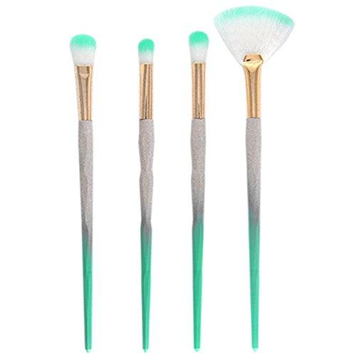 Gespout 4PCS Pinceau de Maquillage Professionnel pour Yeux Vert Nylon Poignée en Plastique Fond de Teint Poudre Blush Différents Styles