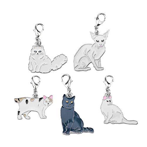 HEEPDD 5 Pcs Hund Katze Metall Kragen Anhänger Verschluss Haustier ID Charme Choker Schlüsselanhänger Ornamente Pflege Zubehör für Kätzchen Welpen Halskette Befestigung Dekorationen -