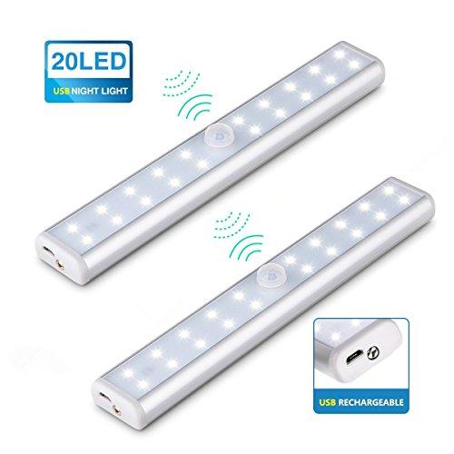 KINGSO 20LED USB automatische Sensor Schrankbeleuchtung kabellose Schrankleuchte LED Nachtlicht mit PIR Bewegungsmelder Ideal für Badezimmer Kabinett Dachböden Garagen Treppe Schrank Weiß 2 Pack (Sensor Garage Licht)