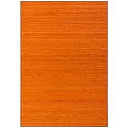 LOLAhome Alfombra de salón o Comedor Oriental Naranja de bambú de 140 x 200 cm Sol Naciente, 140x200