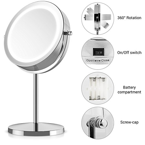 Navaris Kosmetikspiegel mit LED Beleuchtung - Spiegel mit normaler und 5-facher Vergrößerung - Schminkspiegel beleuchtet 360° drehbar - 3