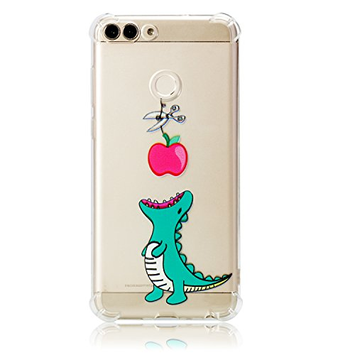 Coque Huawei P Smart,Étui Huawei P Smart,Surakey Souple Silicone Transparent Housse Etui pour Huawei P Smart Coque de Protection en TPU avec Absorption Bumper Anti-Scratch (Crocodile)