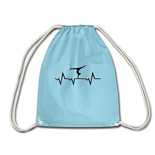 Spreadshirt Turnen EKG Linie Turnerin Handstand Turnbeutel, Aqua