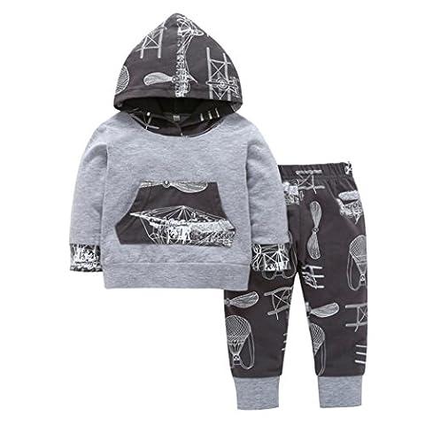 Longra Neugeborene Baby Kleinkind Jungen Mädchen Kleidung Mit Kapuze Print Langarmshirt kapuzenpullover + Hose 2 STÜCKE Outfits Set Hoodie Sweatshirt Babykleidung Set (100CM 18Monate, Gray)