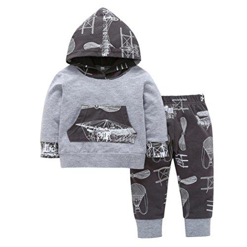 Longra Neugeborene Baby Kleinkind Jungen Mädchen Kleidung Mit Kapuze Print Langarmshirt kapuzenpullover + Hose 2 STÜCKE Outfits Set Hoodie Sweatshirt Babykleidung Set (80CM 6Monate, Gray)