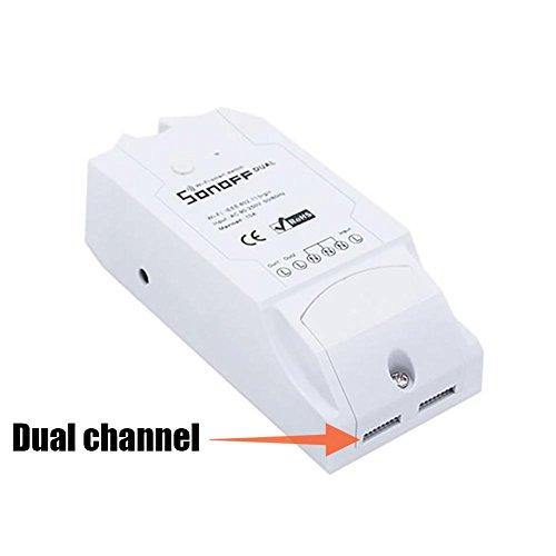 Smart Switch Wireless Sonoff WiFi Dual/Single Channel Compatibile con Alexa, Controller per dispositivi di Controllo remoto per DIY Your Home Tramite iPhone Android App