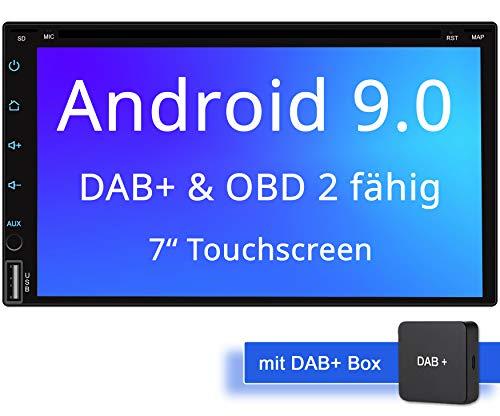 Tristan Auron BT2D7018A-DVD Android 9.0 Autoradio mit Navi + DAB + Box I 7'' Touchscreen Bildschirm I Bluetooth Freisprecheinrichtung I Quad Core CD DVD GPS USB SD OBD 2-2 DIN