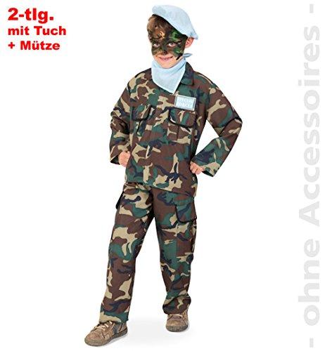 Rambo Dschungel Kämpfer Militär Soldat 2tlg m Halstuch u Mütze Kinder Kostüm Gr 128