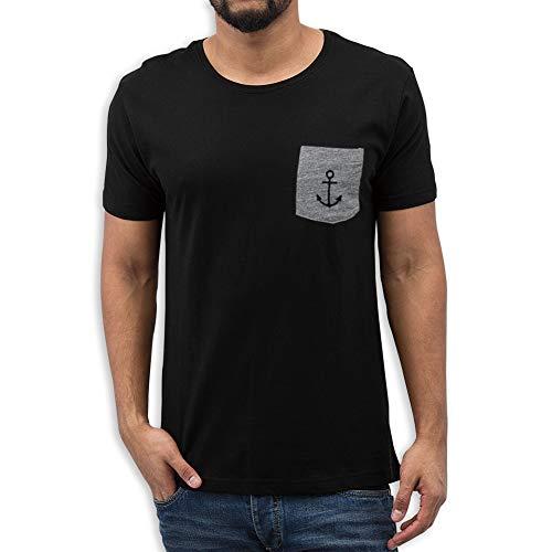 VIENTO Basic Pocket Herren T-Shirtmit Brusttasche (Schwarz, L)