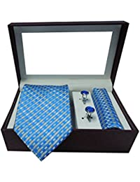 Riyasat - Check Design Blue Color Micro Fibre Men,s Tie, Cufflink and Pocket Square Gift Set .(S_093)