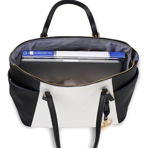 Echt Leder Damen Große Größe Handtaschen Genuine Leder Tote Schultertasche CW1003 (Schwarz/Weiß Schultertasche (35.5x16.5x28cm)) LeahWard qwgfsu8