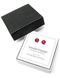 pewterhooter 925 Sterling Silver stud earrings expertly made with sparkling Siam Red crystal from SWAROVSKI® for Women