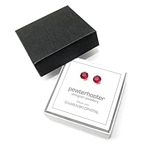 End of line clearance. 925 Sterling Silver stud earrings handmade with Ruby Red crystal from SWAROVSKI® for Women
