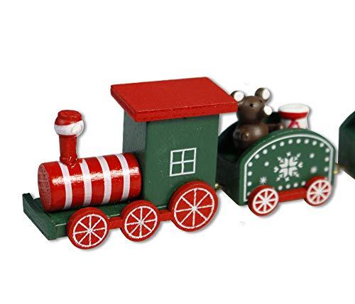 Vetrineinrete® trenino natalizio in legno con 3 vagoni decorazione giochi per natale per bambini idea regalo 88560 (verde) d17