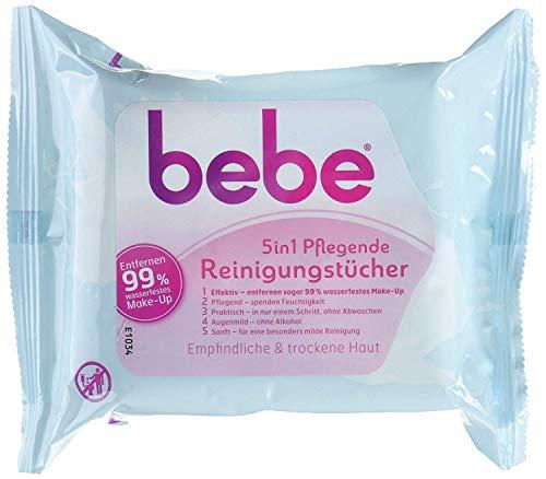 bebe 5in1 Pflegende Reinigungstücher - Abschminktücher für empfindliche & trockene Haut - 3 x 25 Stück