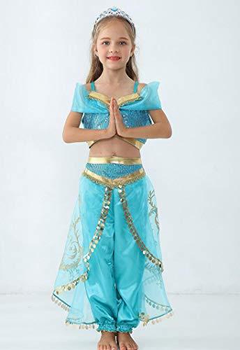SMACO Aladdin Jasmin Kostüm Kinder Kind Mädchen Jasmin Prinzessin Kostüme Halloween Party Bauchtanz Kleid für Kinder Mädchen Cosplay,B,110CM