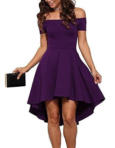 Cfanny Women's Off Shoulder Short Sleeve Ruched Mini All The Rage Skater Dress,Purple,Large(UK