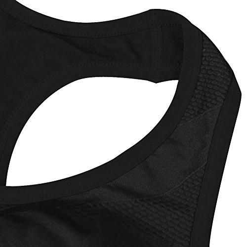 CHIC-CHIC Sexy Soutien-gorge Sport Lingerie Femme Brassière Sans Armature Couture Gym Fitness Haut Yoga Vest Plunge Support Dos Nageur Noir