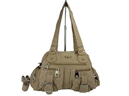 V&C 68015-4 leichte Stofftasche, Damen Handtasche Textil, verschiedene Farben 34x24x13cm (grau dunkelgrau) beige natur