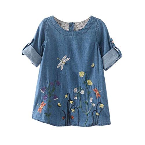 Bekleidung Longra Kleinkind Kinder Baby Mädchen Kleidung Blume Stickerei Muster Denim Kleid Prinzessin Kleider Mädchen Sommer Kleid (2-7Jahre) (100CM 2-3Jahre, Light (Kleid Prinzessin Kleinkind)