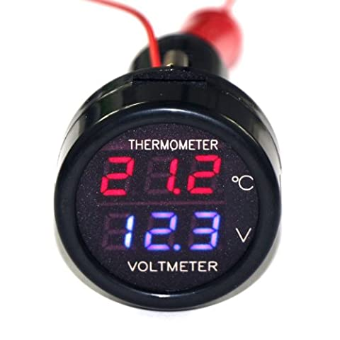 RioRand Cigarette Lighter Plug Digital Voltmeter Temperature Gauge 2in1 12V/24V
