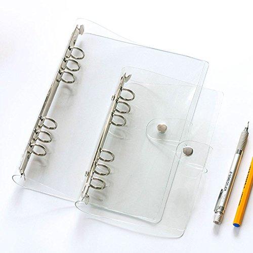 Multibey A5 A6 Soft Clear Binder Cover Transparent Shell 6 Ringe Lose Blatt Notizbuch Mappe A5 9