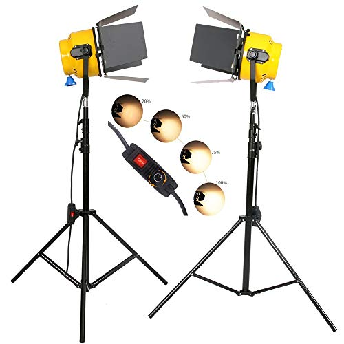 hwamart 2 × 2000W tête Jaune Spotlight Blond Clair Film continu Film de tungstène dimmable lumière Studio de Photographie de lumière