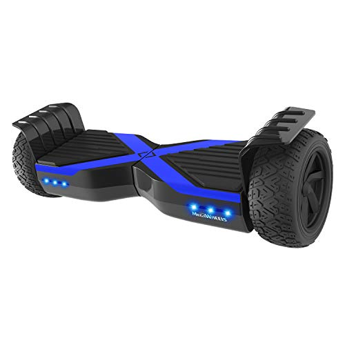 """M MEGAWHEELS Scooter Elettrico autobilanciati Hover Boards, da 8,5\""""con Motore,luci a LED, Certificazione UL (Nero Blu)"""