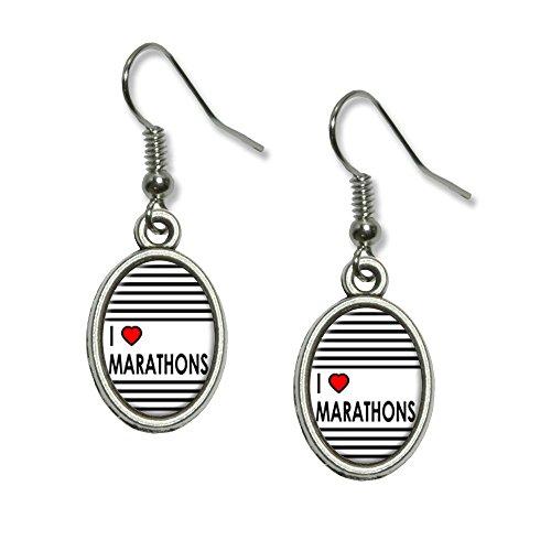 I love Herz-Marathons Neuheit Dangling Drop oval Charm-Ohrringe
