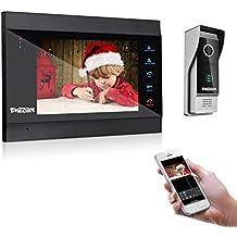 TMEZON Wifi Sistema Videocitofonico Con Citofono, Monitor Wireless Da 7 Pollici Con Telecamera Esterna Cablata, Registrazione e Istantanea