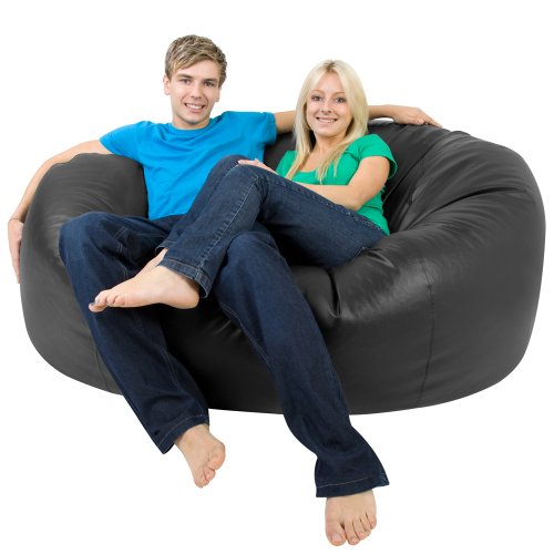 xxxl bean bag monster double faux leather black giant bean bags beanbag big enough - Giant Bean Bag Chairs