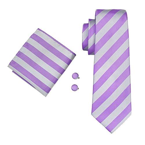KYDCB Neue Lila Gestreifte Krawatte Für Männer Einstecktuch Manschettenknöpfe Krawatte 100% Seide Krawatte Geschäfts Hochzeit Männer Krawatte Set - Gestreifte Neue Seide Krawatte