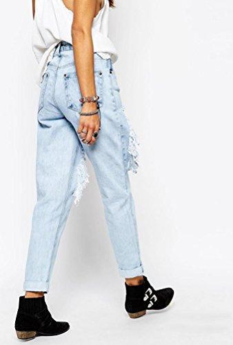 Baymate Femmes Jeans Lâche Rétro Pantalons avec Trous Floral Bleu