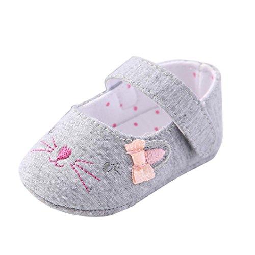 Chaussures de bébé,Transer ® Bébé 0-18 mois fille Crib chaussures fleur souple semelle anti-dérapant Sneakers Gris