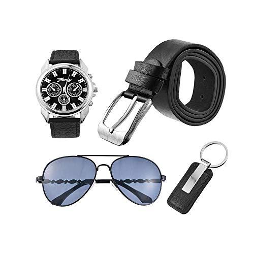 LLYWCM Geschenke Set für Männer Geschenkset mit Armbanduhr Sonnenbrille Gürtel Schlüsselanhänger Geschenkset für Herren