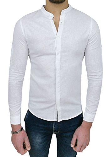 Camicia uomo sartoriale in lino bianca casual estiva slim fit (s)
