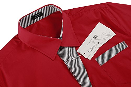 Aulei Herren Hemd Langarm Umlegekragen Freitzeitkleidung Rot